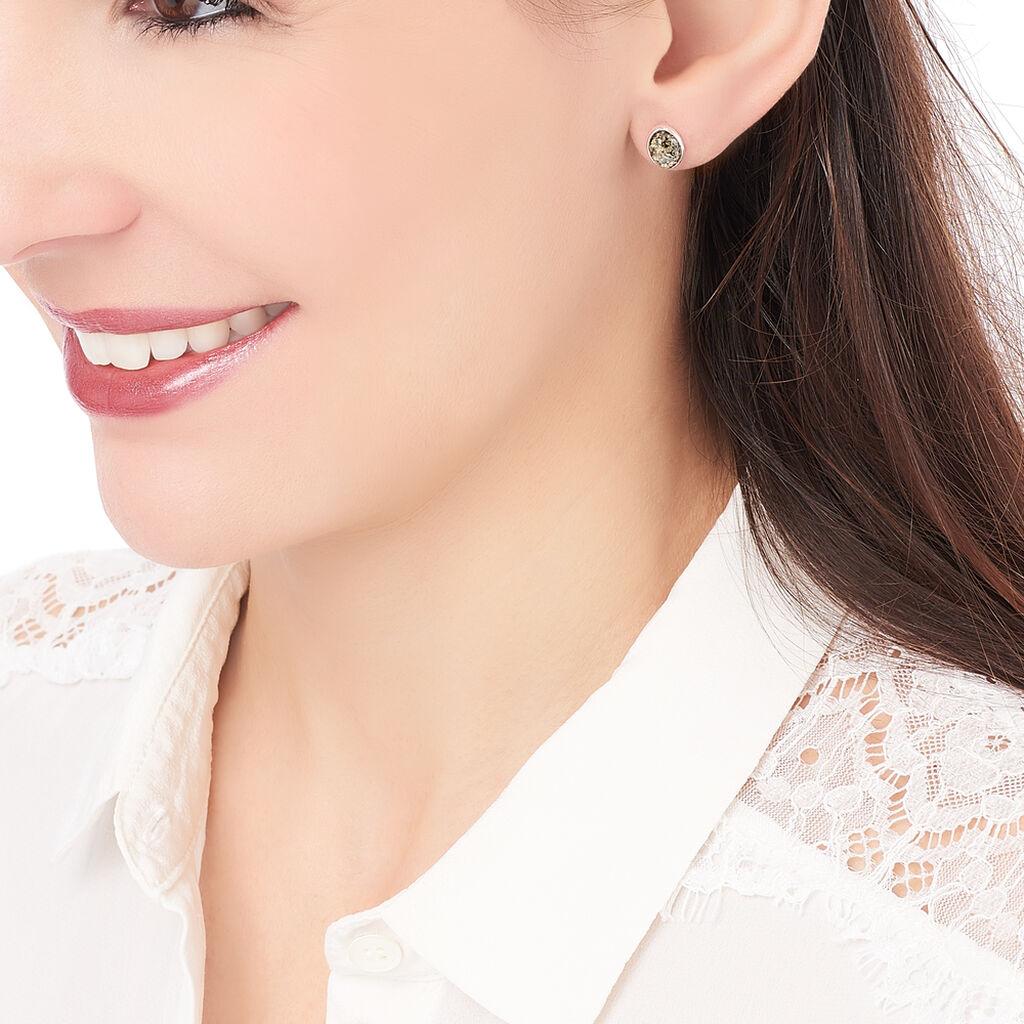 Boucles D'oreilles Puces Anise Argent Blanc Ambre - Boucles d'oreilles fantaisie Femme   Histoire d'Or