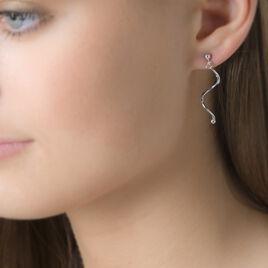 Boucles D'oreilles Pendantes Siham Argent Blanc - Boucles d'oreilles fantaisie Femme | Histoire d'Or