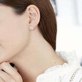Boucles D'oreilles Puces Aelai Or Blanc Diamant - Clous d'oreilles Femme   Histoire d'Or