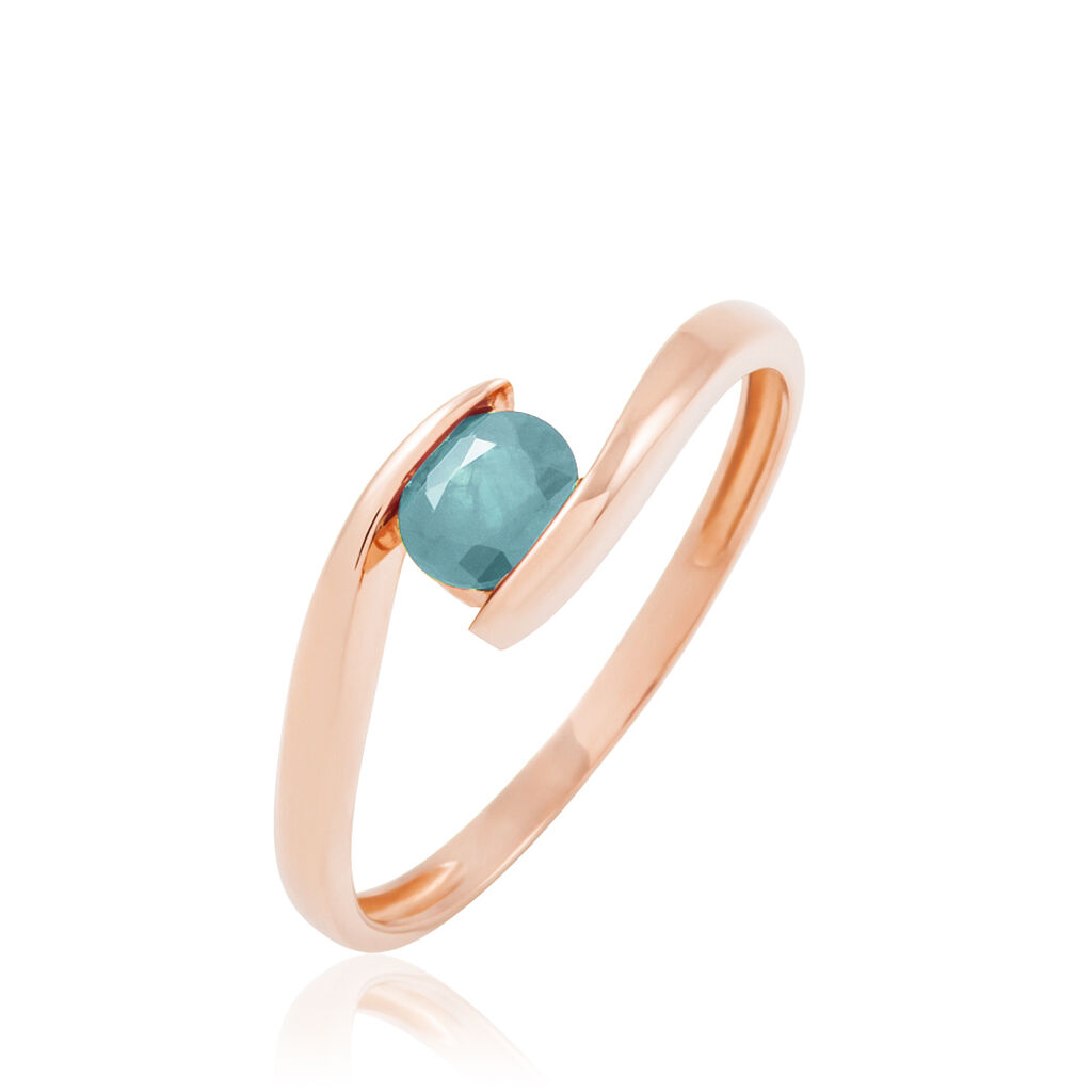 Bague Camilia Or Rose Aigue Marine