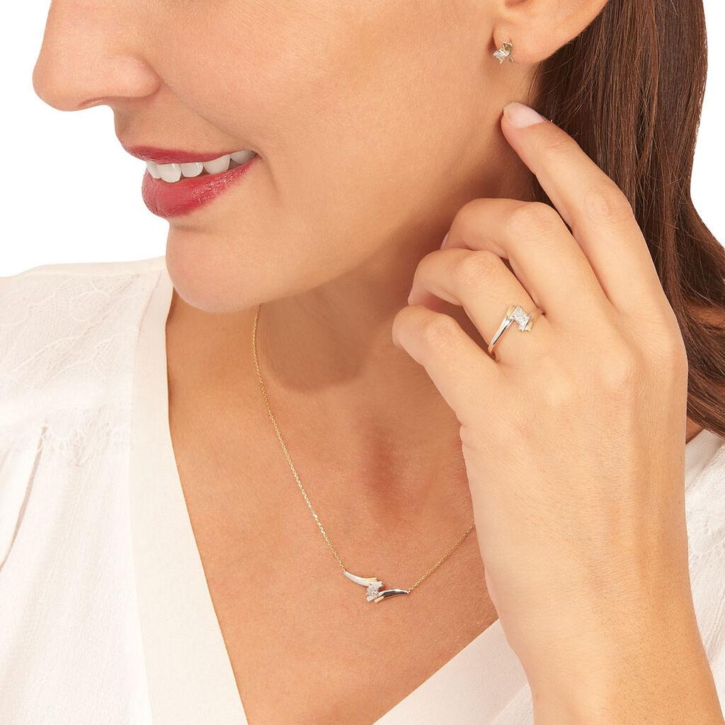 Bague Catena Or Bicolore Diamant - Bagues avec pierre Femme | Histoire d'Or
