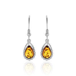 Boucles D'oreilles Pendantes Anaide Argent Blanc Ambre - Boucles d'oreilles fantaisie Femme | Histoire d'Or