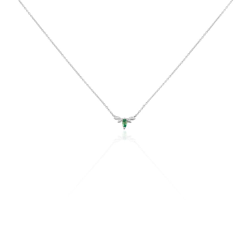 Collier Or Blanc Febe Emeraude Diamant - Bijoux Femme | Histoire d'Or