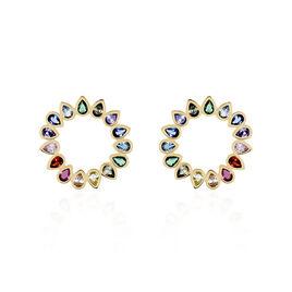 Boucles D'oreilles Pendantes Plaqué Or Jaune Ethem Pierres - Boucles d'oreilles fantaisie Femme | Histoire d'Or