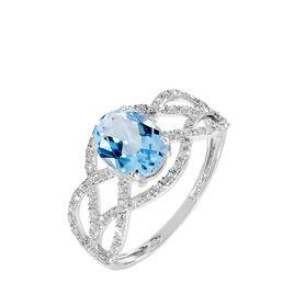 Bague Tina Or Blanc Topaze Et Diamant - Bagues avec pierre Femme | Histoire d'Or