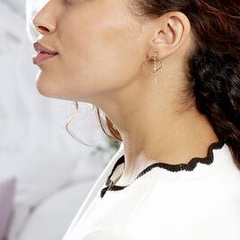 Créoles Elyette Carre Ajoure Or Jaune - Boucles d'oreilles créoles Femme | Histoire d'Or