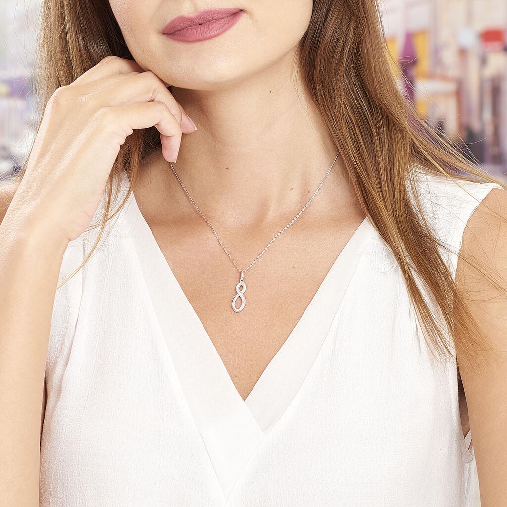Collier Odile Argent Blanc Oxyde De Zirconium - Colliers Infini Femme   Histoire d'Or
