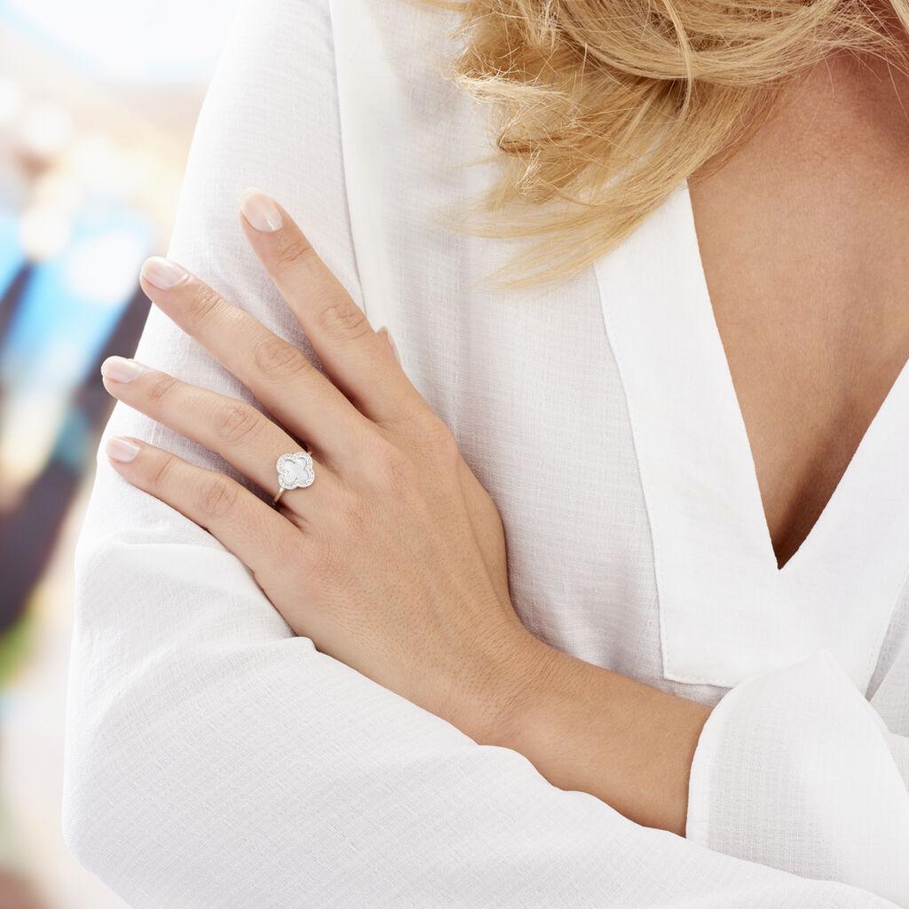 Bague Hapsa Argent Blanc Oxyde De Zirconium - Bagues Trèfle Femme | Histoire d'Or