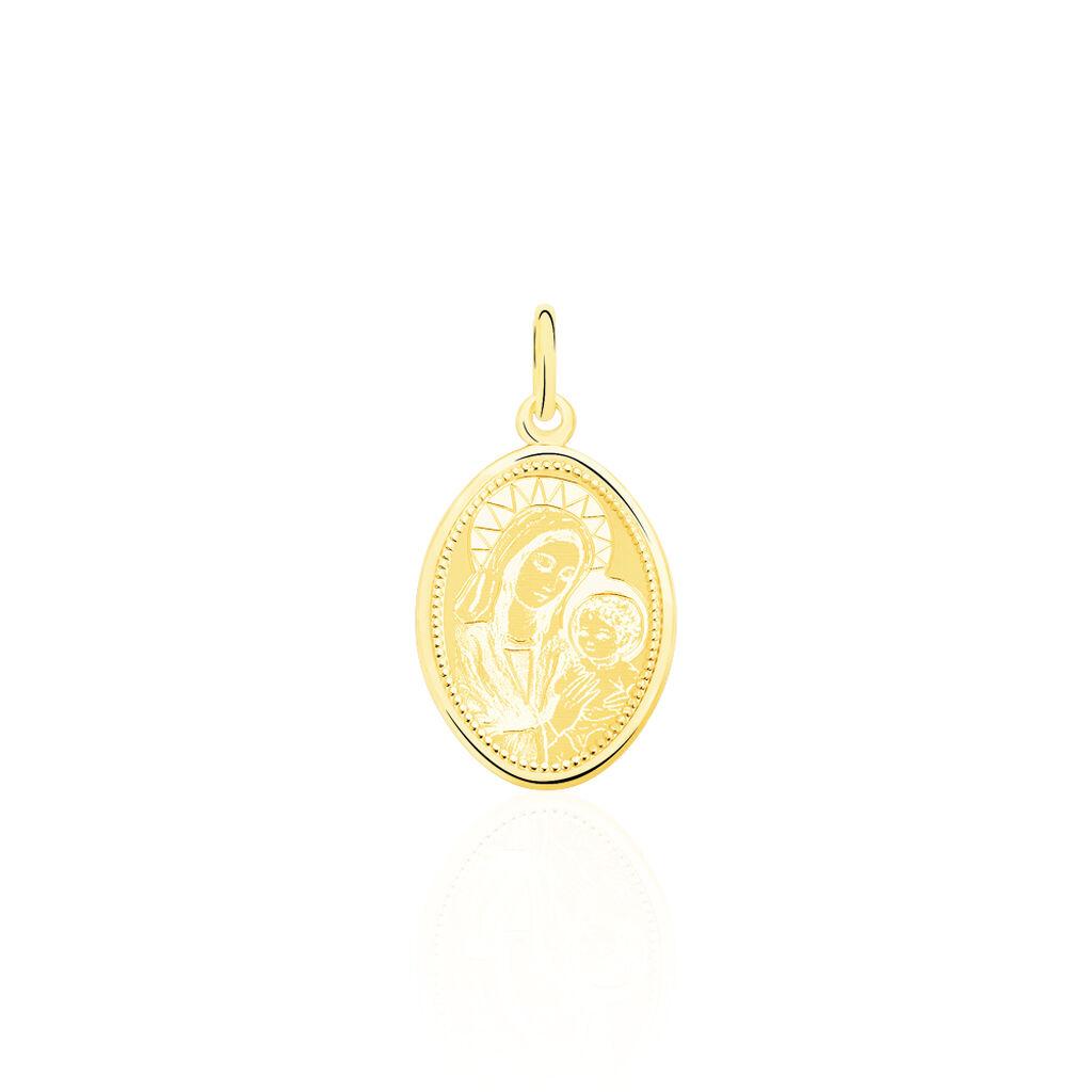 Pendentif Vierge A L'enfant Ovale Or Jaune - Bijoux Vierge Unisexe | Histoire d'Or