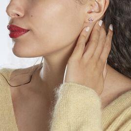 Boucles D'oreilles Puces Louna Or Rose Amethyste Et Diamant - Boucles d'Oreilles Coeur Femme | Histoire d'Or