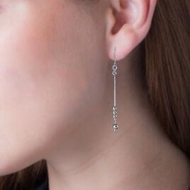 Boucles D'oreilles Pendantes Manou Argent Blanc - Boucles d'oreilles fantaisie Femme   Histoire d'Or