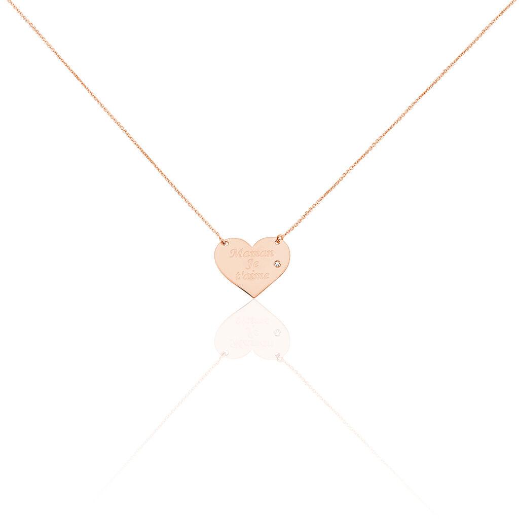Collier Sofia Coeur Or Rose Oxyde De Zirconium - Colliers Coeur Femme | Histoire d'Or