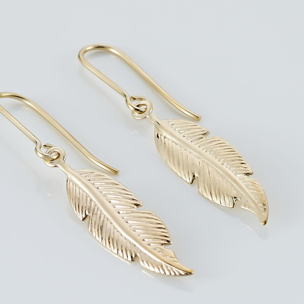 Boucles D'oreilles Pendantes Indian Nature Feuilles Or Jaune - Boucles d'Oreilles Plume Femme   Histoire d'Or