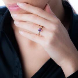 Bague Or Jaune Amethyste Et Diamant - Bagues solitaires Femme | Histoire d'Or