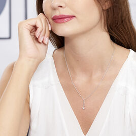 Collier Argent Rhodie Ancre Marine Perle D'imitation - Bijoux Ancre Femme | Histoire d'Or