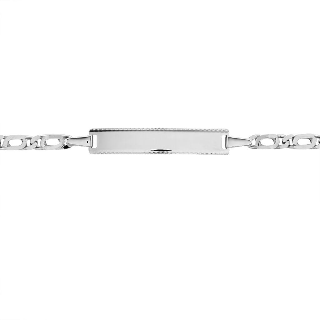 Bracelet Identité Fanelia Maille Marine Or Blanc - Bracelets Communion Enfant   Histoire d'Or