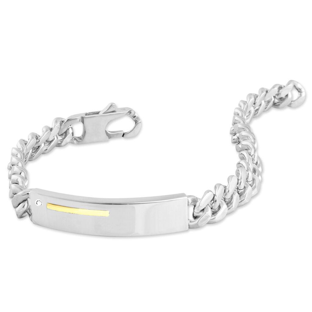 Bracelet Identité Adoline Or Acier Bicolore Diamant - Gourmettes Homme   Histoire d'Or