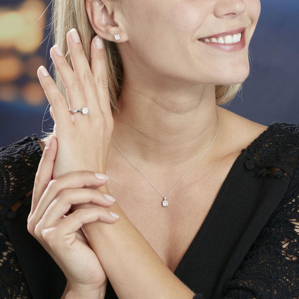 Collier Charlene Or Blanc Diamant Synthetique - Bijoux Femme   Histoire d'Or
