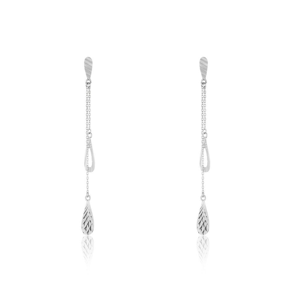 Boucles D'oreilles Pendantes Anila Gouttes Or Blanc - Boucles d'oreilles pendantes Femme | Histoire d'Or