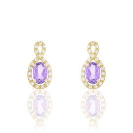 Boucles D'oreilles Pendantes Passion Or Jaune Amethyste Et Oxyde - Boucles d'oreilles pendantes Femme | Histoire d'Or