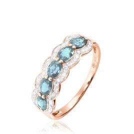 Bague Margaux Or Rose Aigue Marine Et Diamant - Bagues avec pierre Femme   Histoire d'Or
