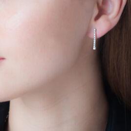Boucles D'oreilles Puces Riviera Or Blanc Diamant - Boucles d'oreilles pendantes Femme | Histoire d'Or