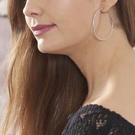 Creoles Argent Rhodie Flexibles - Boucles d'oreilles créoles Femme | Histoire d'Or
