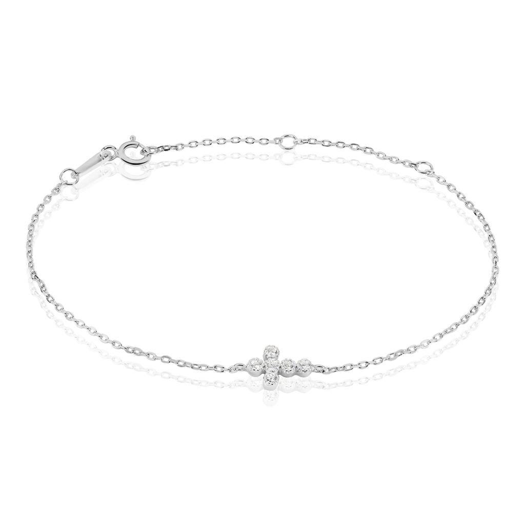 Bracelet Priscus Argent Blanc Oxyde De Zirconium - Bracelets Croix Femme   Histoire d'Or