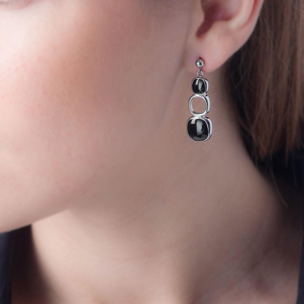 Boucles D'oreilles Pendantes Hatayi Acier Blanc - Boucles d'oreilles fantaisie Femme   Histoire d'Or