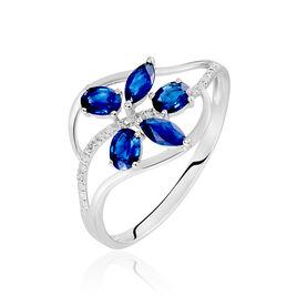 Bague Orchidee Or Blanc Saphir Diamant - Bagues avec pierre Femme | Histoire d'Or