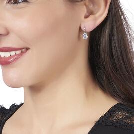 Boucles D'oreilles Puces Anesa Or Blanc Topaze - Clous d'oreilles Femme | Histoire d'Or