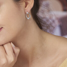 Boucles D'oreilles Pendantes Danie Argent Blanc Oxyde De Zirconium - Boucles d'oreilles fantaisie Femme | Histoire d'Or