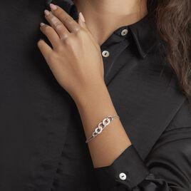 Bracelet Link Argent Blanc Céramique Et Oxyde De Zirconium - Bijoux Femme | Histoire d'Or