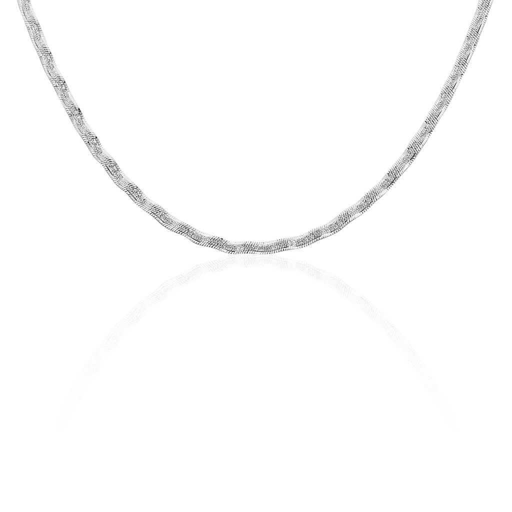 Collier Leonte Maille Heringbone Argent Blanc - Chaines Femme   Histoire d'Or