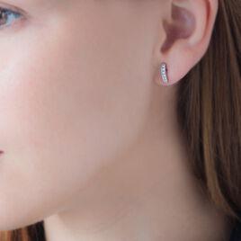 Créoles Callyste Rondes Argent Blanc Oxyde De Zirconium - Boucles d'oreilles créoles Femme | Histoire d'Or
