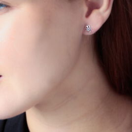 Boucles D'oreilles Puces Philine Fleur Or Blanc Oxyde De Zirconium - Clous d'oreilles Femme | Histoire d'Or