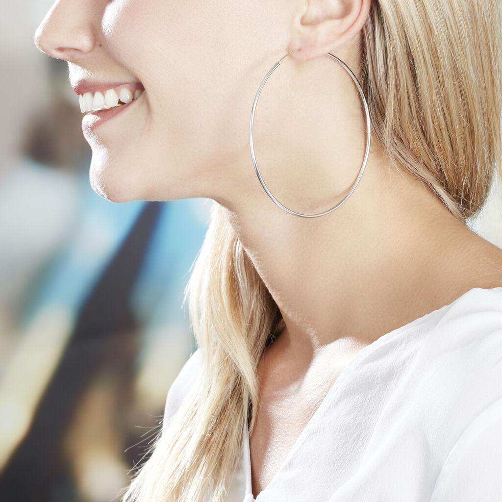 Créoles Olympia Flexible Argent Blanc - Boucles d'oreilles créoles Femme | Histoire d'Or