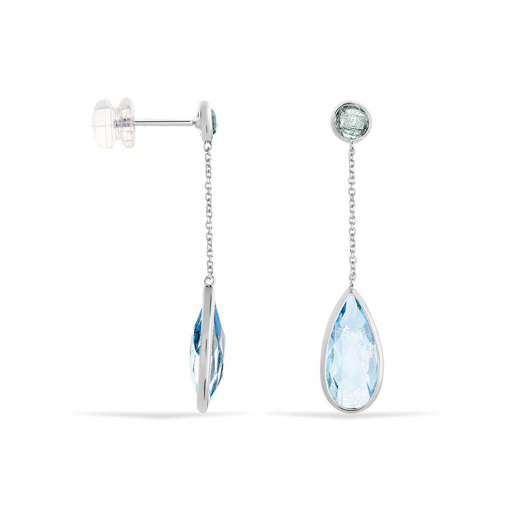 Boucles D'oreilles Pendantes Sela Or Blanc Topaze - Boucles d'oreilles pendantes Femme | Histoire d'Or