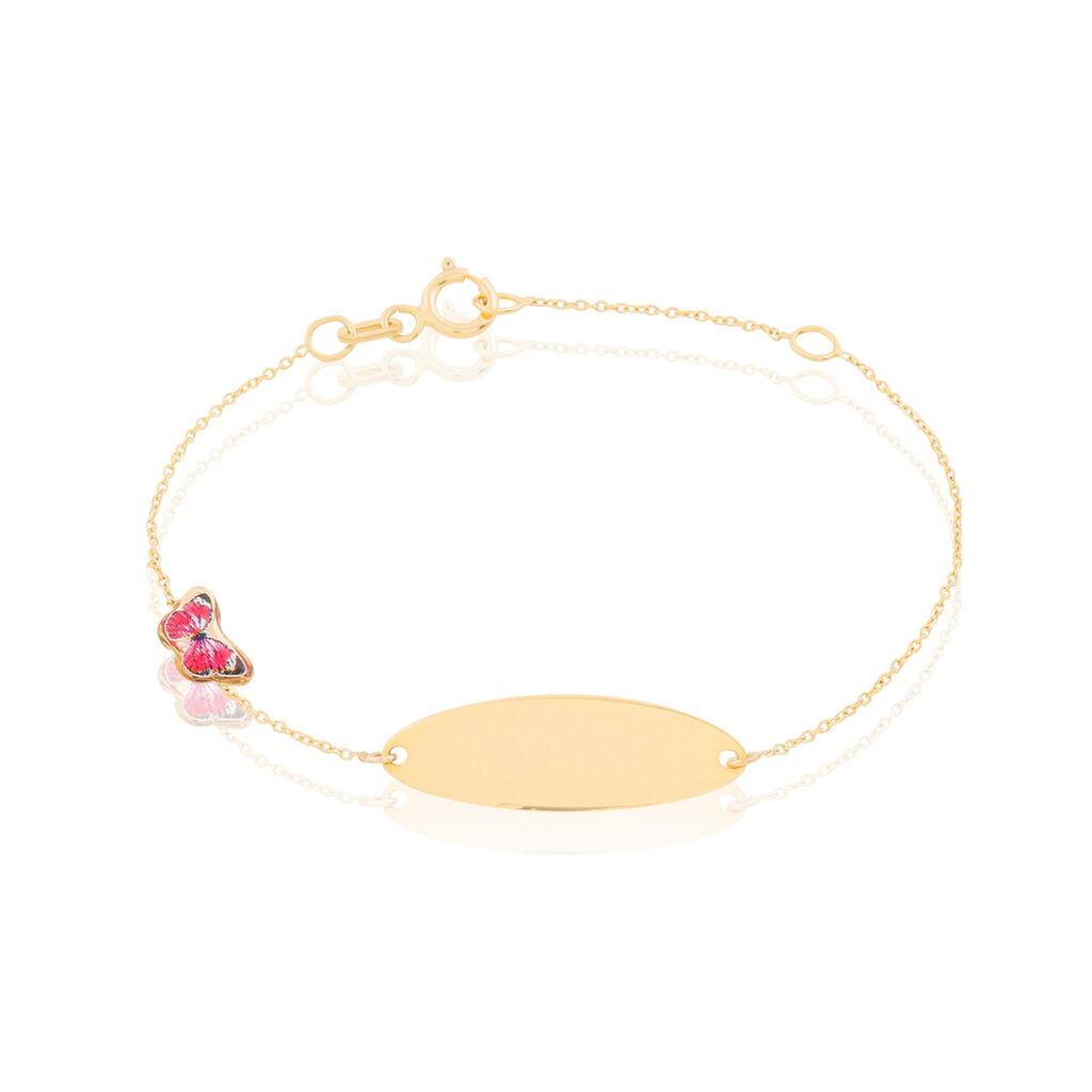 Bracelet Identité Helee Papillon Or Jaune - Bracelets Communion Enfant   Histoire d'Or