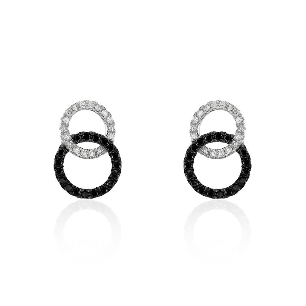 Boucles D'oreilles Puces Bella Or Blanc Diamant - Clous d'oreilles Femme   Histoire d'Or
