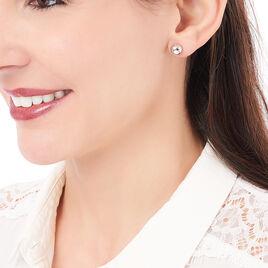 Boucles D'oreilles Puces Fidelia Boule Or Blanc - Clous d'oreilles Femme   Histoire d'Or