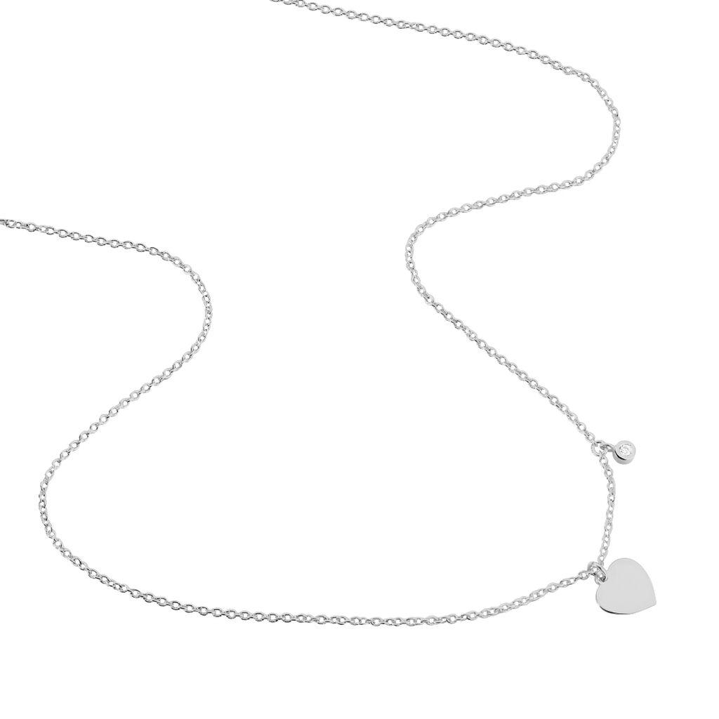 Collier Eleyana Argent Blanc - Colliers Coeur Femme | Histoire d'Or