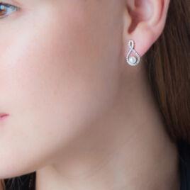 Boucles D'oreilles Pendantes Saja Argent Perle De Culture Et Oxyde - Boucles d'oreilles fantaisie Femme | Histoire d'Or