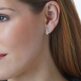 Boucles D'oreilles Puces Joy Or Blanc Diamant - Clous d'oreilles Femme | Histoire d'Or