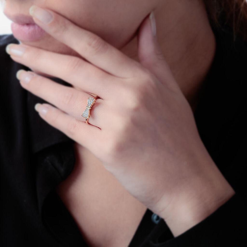 Bague Plaque Or Jaune Oxyde De Zirconium - Bagues avec pierre Femme | Histoire d'Or