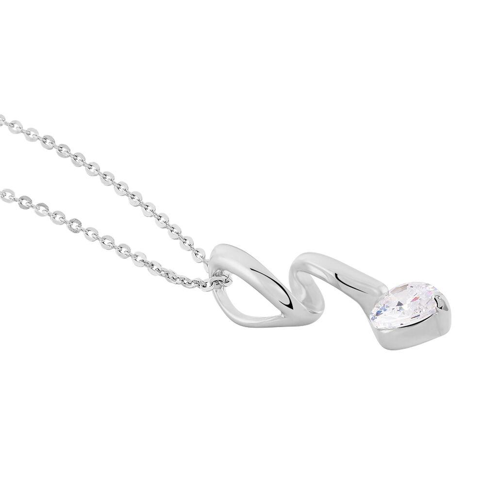 Collier Amayes Argent Blanc Oxyde De Zirconium - Colliers Coeur Femme | Histoire d'Or