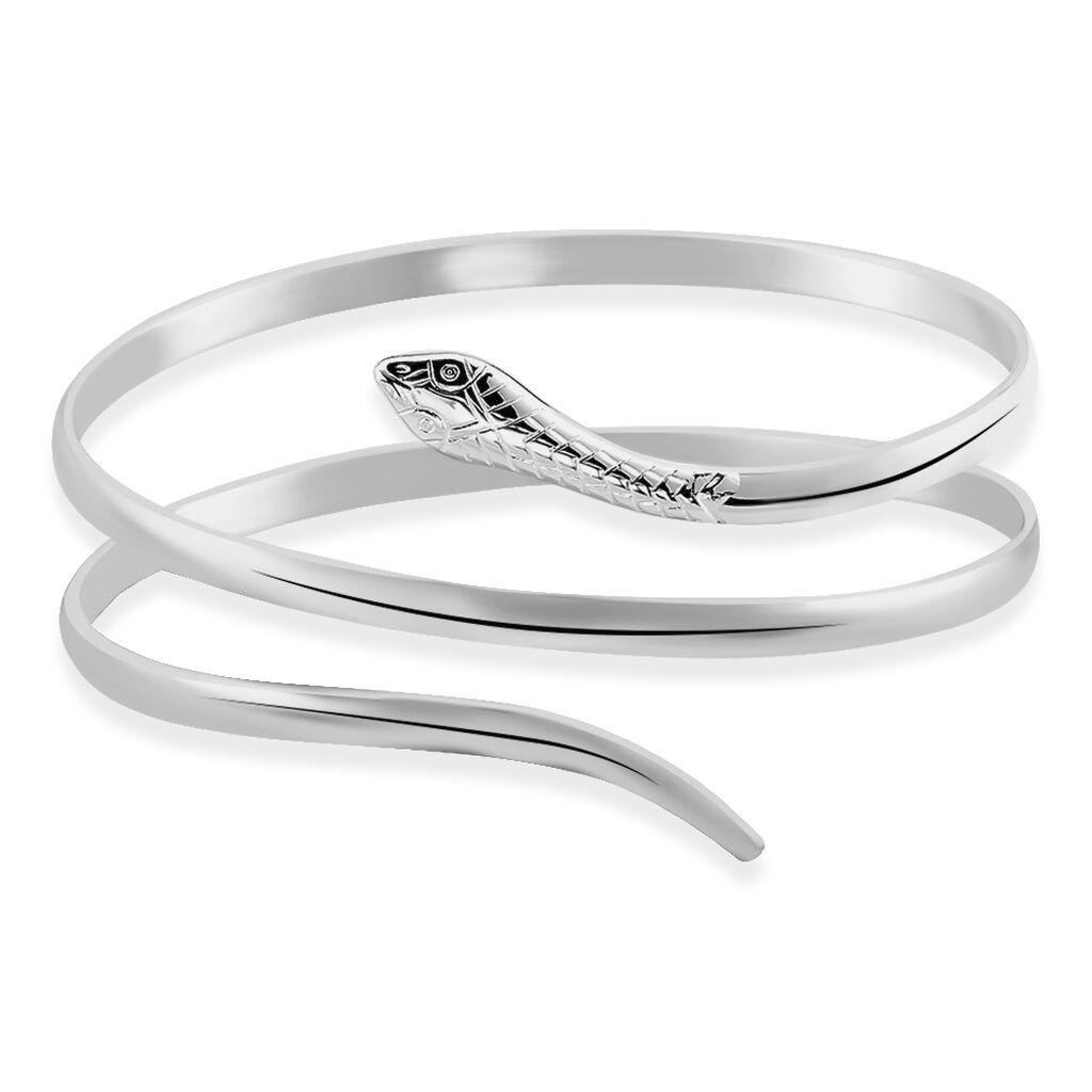Bracelet Jonc Solitaae Argent Blanc - Bracelets joncs Femme   Histoire d'Or