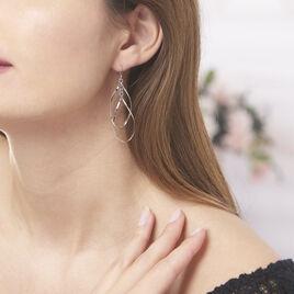 Boucles D'oreilles Pendantes Twisty Argent Blanc - Boucles d'oreilles fantaisie Femme | Histoire d'Or