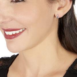 Boucles D'oreilles Puces Rosalyne Or Blanc Saphir Et Diamant - Clous d'oreilles Femme | Histoire d'Or