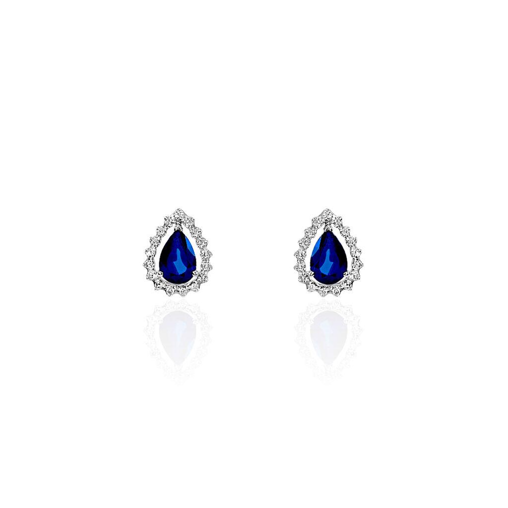 Boucles D'oreilles Puces Maiana Or Blanc Saphir Et Diamant - Clous d'oreilles Femme   Histoire d'Or
